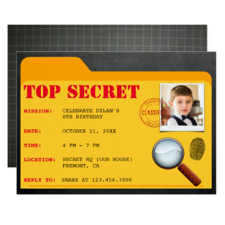 Secret Agent Detective Spy Birthday Party Invite