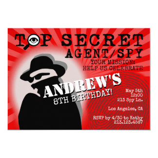 Secret Agent Spy Birthday Party Invitation