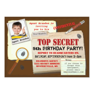 Secret Agent Spy Top Secret Birthday Party Invite