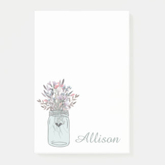Secret Garden Mason Jar Personalized Post-it Notes