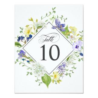 Secret Garden Rustic Wildflowers Table Numbers Card