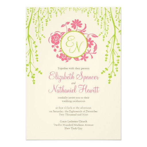 Secret Garden Wedding Invitation Pink & Green