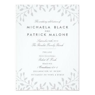 Secret Garden Wedding Programs - Grey 14 Cm X 19 Cm Invitation Card