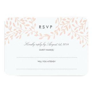 Secret Garden Wedding RSVP - Blush 9 Cm X 13 Cm Invitation Card