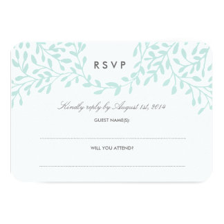 Secret Garden Wedding RSVP - Mint Card