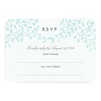 Secret Garden Wedding RSVP - Mint 9 Cm X 13 Cm Invitation Card