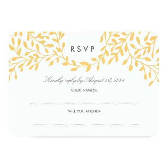 Secret Garden Wedding RSVP - Mustard Card