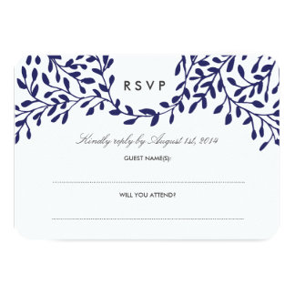 Secret Garden Wedding RSVP - Navy 9 Cm X 13 Cm Invitation Card