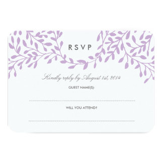 Secret Garden Wedding RSVP - Orchid 9 Cm X 13 Cm Invitation Card