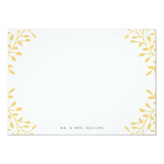 Secret Garden Wedding Stationery - Mustard Yellow 13 Cm X 18 Cm Invitation Card