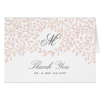 Secret Garden Wedding Thank You Card - Blush