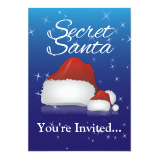 Secret Santa, Blue/Hat Card