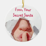 Secret Santa Gift Double-Sided Ceramic Round Christmas Ornament