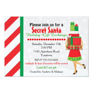 Secret Santa Gift Exchange 13 Cm X 18 Cm Invitation Card