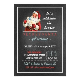 Secret Santa Holiday Party 5x7 Vintage Chalkboard 13 Cm X 18 Cm Invitation Card