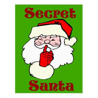 Secret Santa on Christmas Green Postcard