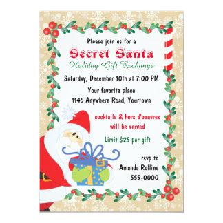 Secret Santa with Present 13 Cm X 18 Cm Invitation Card