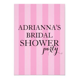 Secret Surprise Bridal Shower Party Pink Stripes 13 Cm X 18 Cm Invitation Card