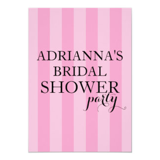 Secret Surprise Bridal Shower Party Pink Stripes Card