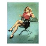 Secretary Pin Up Postcard