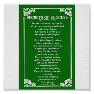 SECRETS OF SUCCESS By BERNARD LEVINE Poster