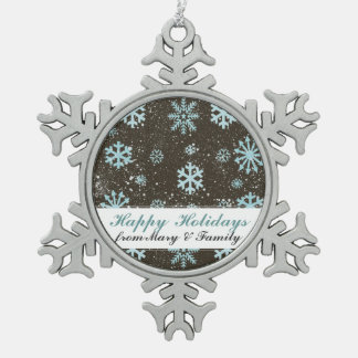 Secular Snowflakes Illustration Holiday Greetings Pewter Snowflake Decoration