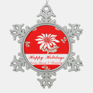 Secular Vintage Cute Red Poinsettia Holiday Flower Pewter Snowflake Decoration