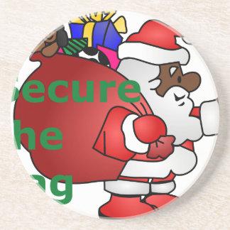 secure the bag black santa coaster