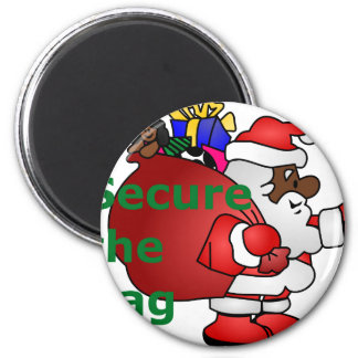 secure the bag black santa magnet