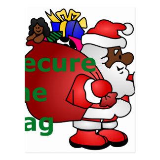 secure the bag black santa postcard
