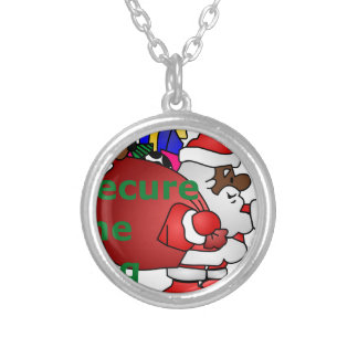 secure the bag black santa silver plated necklace