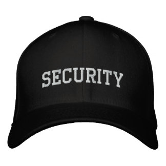 Security  embroidered in white on black cap|hat embroidered hat