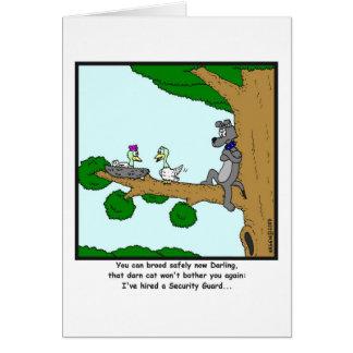 Security Guard: Bird, Cat and Dog cartoon Card