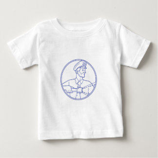 Security Guard Flashlight Circle Mono Line Baby T-Shirt