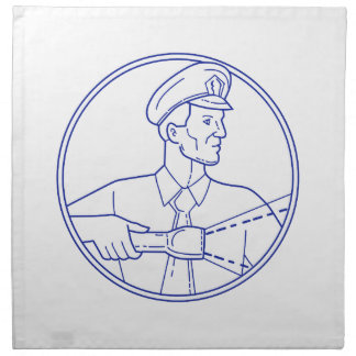 Security Guard Flashlight Circle Mono Line Napkin