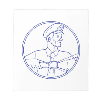 Security Guard Flashlight Circle Mono Line Notepad