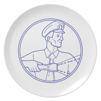 Security Guard Flashlight Circle Mono Line Plate