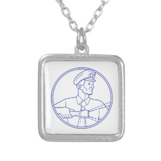Security Guard Flashlight Circle Mono Line Silver Plated Necklace