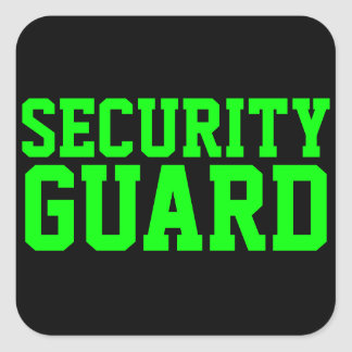 Security Guard Neon Green Square Sticker