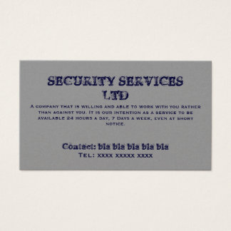 SECURITY SERVICES LTD , Contact: bla bla bla bl... Business Card