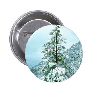 Sedona Mountain landscape Snow covered trees Pinback Button