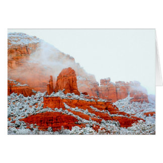 Sedona Red Rocks in snow Card