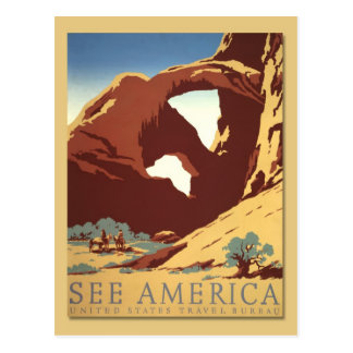 See America - Cowboys & Rock Formations (vintage) Postcard