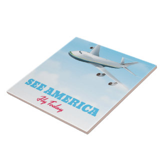 See America - Fly today! Ceramic Tile