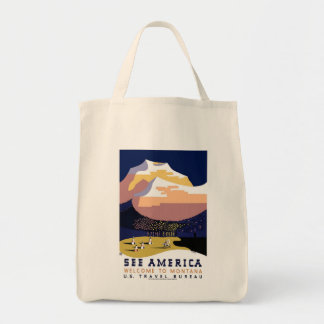See America Montana Grocery Tote Bag