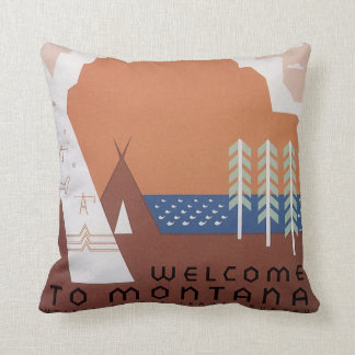 See America Welcome to Montana, Vintage Travel Cushion