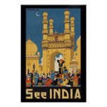 See India Vintage Travel Poster Print