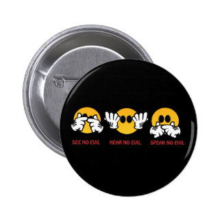 See No Evil, Hear No Evil, Speak No Evil 6 Cm Round Badge