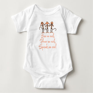 See no evil - hear no evil - speak no evil - baby bodysuit