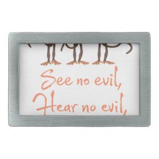 See no evil - hear no evil - speak no evil - belt buckles